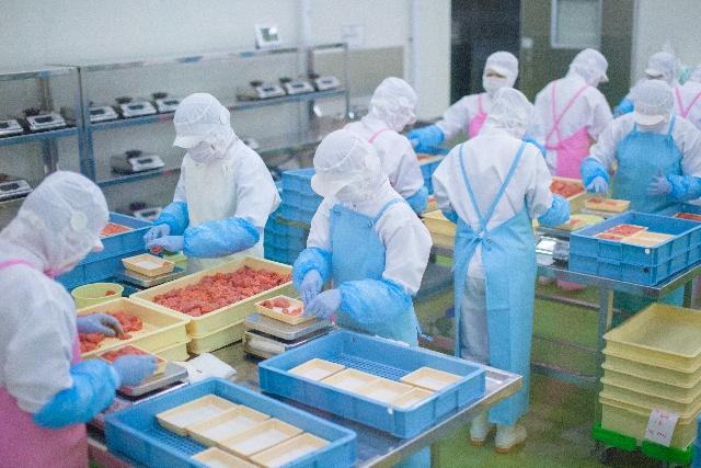 食品の盛り付けまたは加工業務